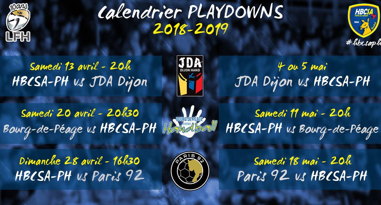 Le calendrier complet des playdowns !